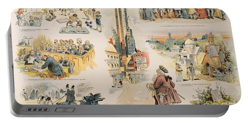 1896 Portable Battery Charger featuring the painting Overproduction Cartoon by Granger