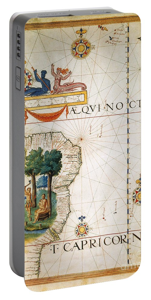 1565 Portable Battery Charger featuring the painting Brazil: Map And Native Indians by Granger