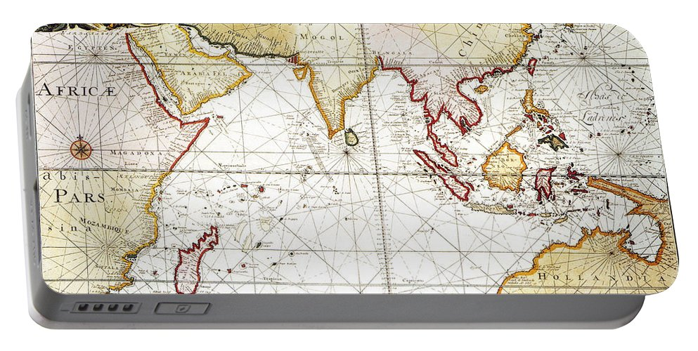1705 Portable Battery Charger featuring the painting Indian Ocean: Map, 1705 by Granger