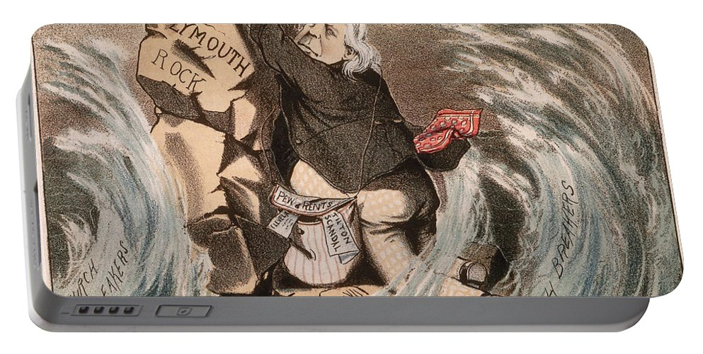1885 Portable Battery Charger featuring the painting Beecher Cartoon, 1885 by Granger