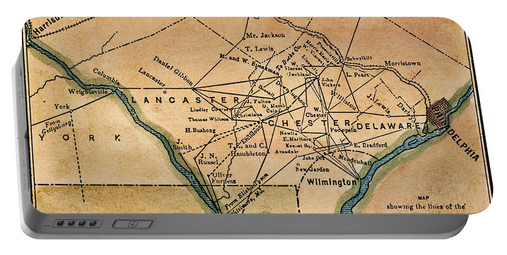 19th Century Portable Battery Charger featuring the painting Underground Railroad Map by Granger