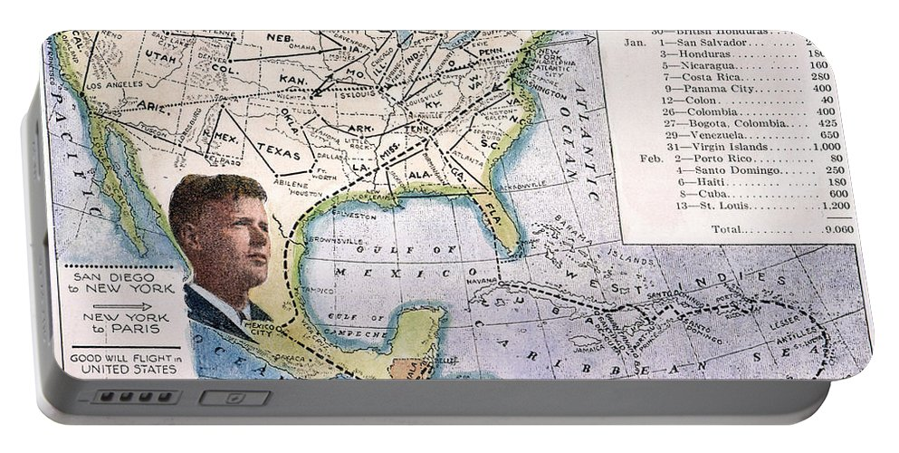 1927 Portable Battery Charger featuring the painting Charles Lindbergh by Granger