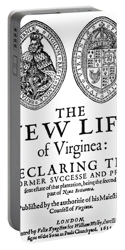 1612 Portable Battery Charger featuring the painting Virginia Tract, 1612 by Granger