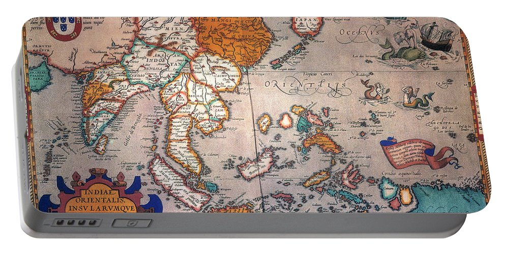 1595 Portable Battery Charger featuring the painting Pacific Ocean/asia, 1595 by Granger