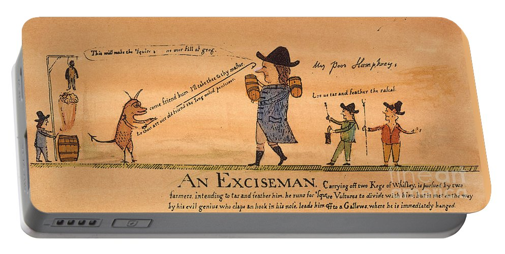 1794 Portable Battery Charger featuring the painting Cartoon: Whiskey Tax, 1794 by Granger