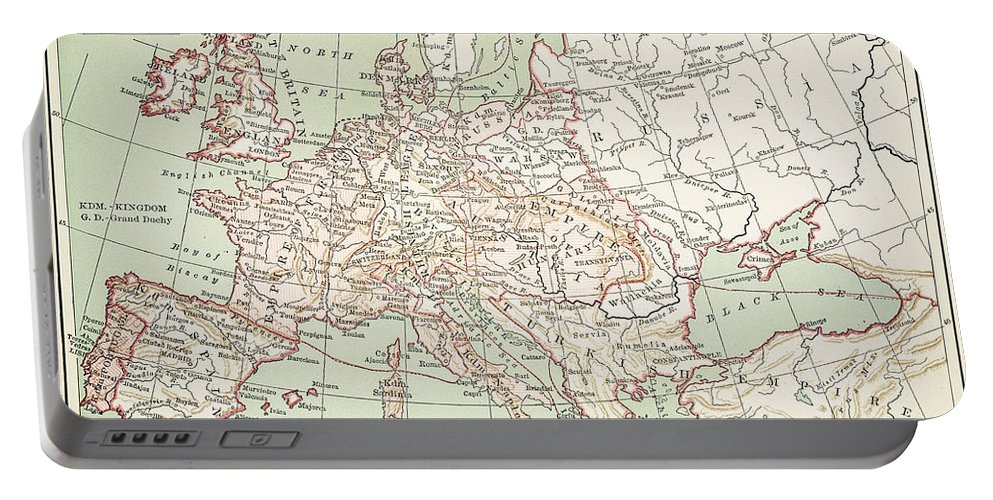1810s Portable Battery Charger featuring the painting Map Of Europe, C1812 by Granger