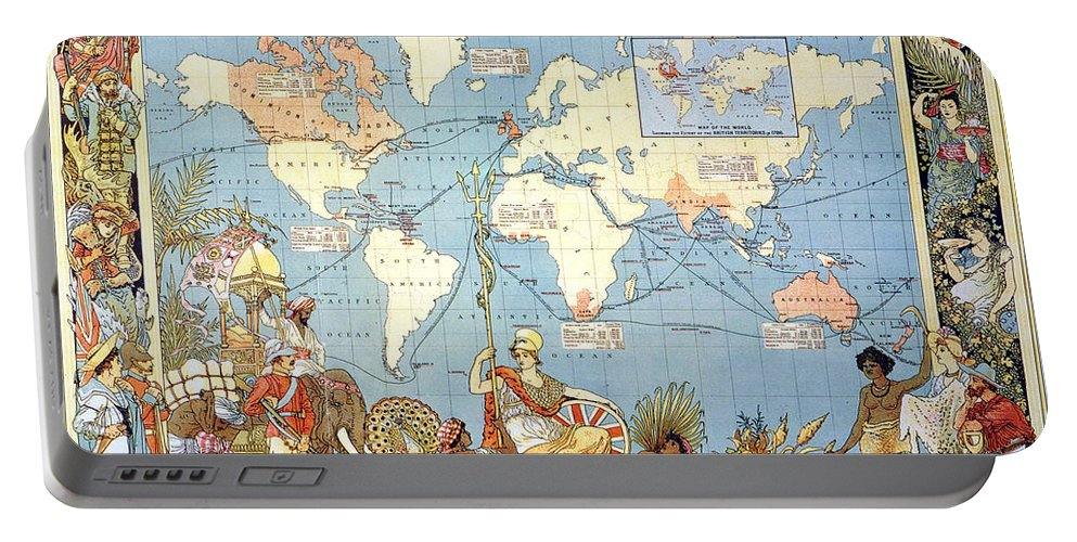 1886 Portable Battery Charger featuring the painting Map: British Empire, 1886 by Granger