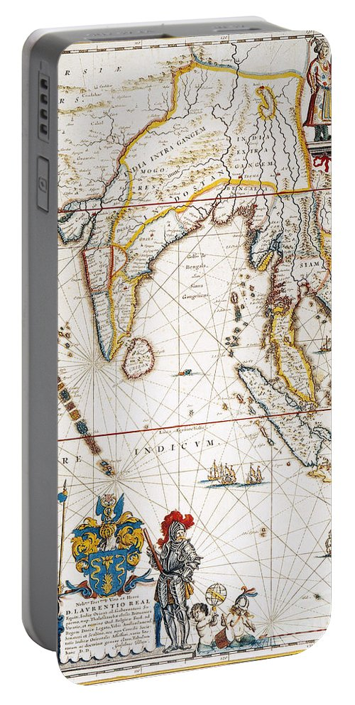 1662 Portable Battery Charger featuring the painting South Asia Map, 1662 by Granger