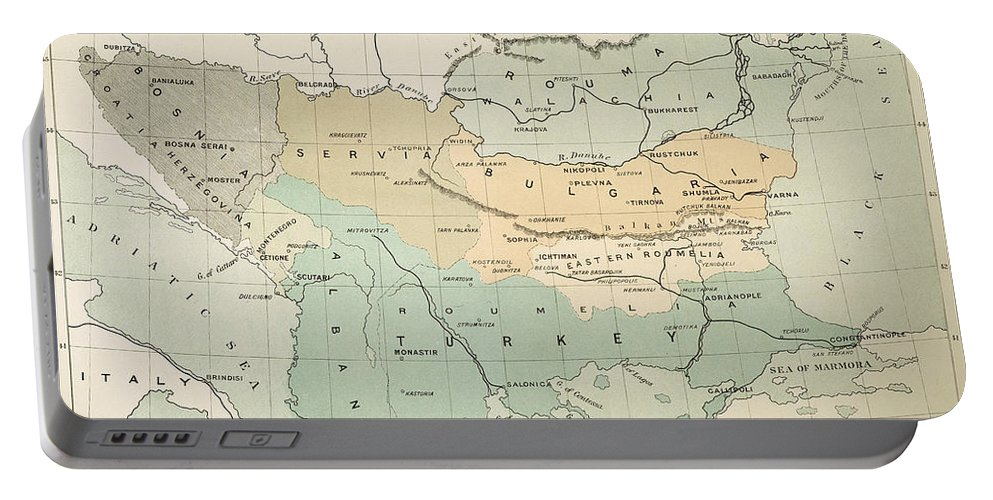 1885 Portable Battery Charger featuring the painting Balkan Map, 1885 by Granger