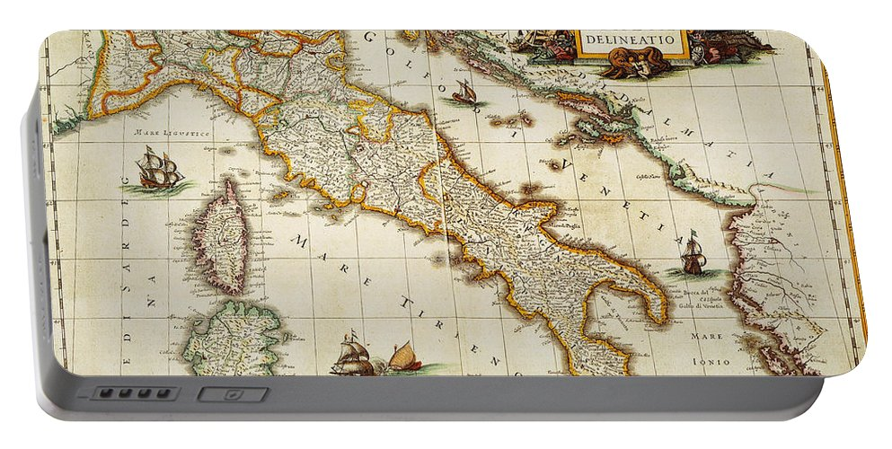 1631 Portable Battery Charger featuring the painting Map Of Italy, 1631 by Granger