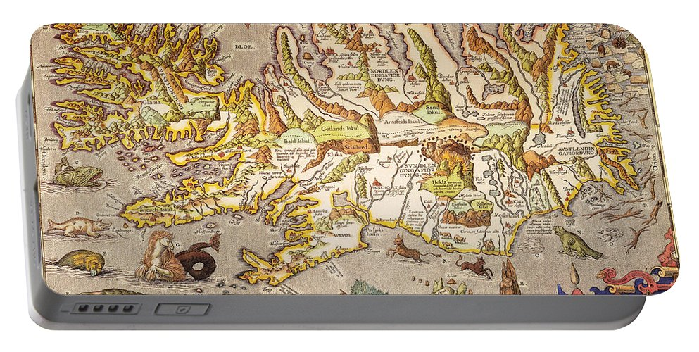 1595 Portable Battery Charger featuring the painting Iceland: Map, 1595 by Granger