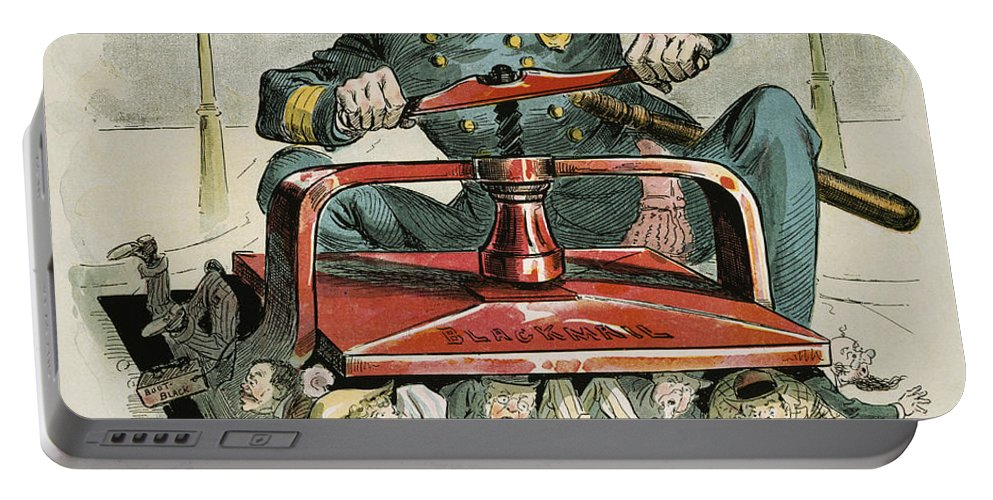 1894 Portable Battery Charger featuring the painting Police Corruption Cartoon by Granger