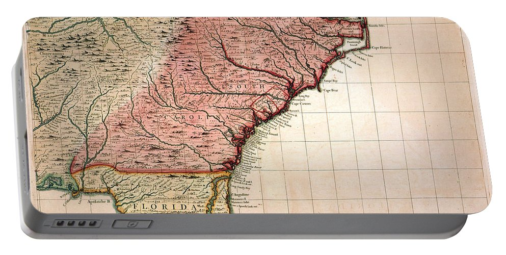 1733 Portable Battery Charger featuring the painting Colonial America Map, 1733 by Granger