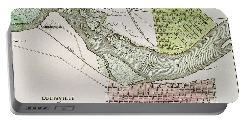 1837 Portable Battery Charger featuring the painting Jeffersonville, Indiana: Map by Granger