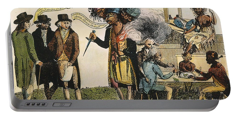 1798 Portable Battery Charger featuring the painting Cartoon: French War, 1798 by Granger