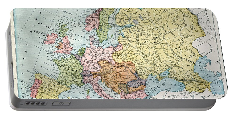 1885 Portable Battery Charger featuring the painting Map: Europe, 1885 by Granger