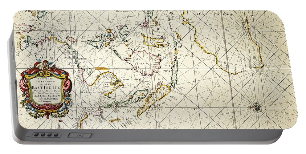 1670 Portable Battery Charger featuring the painting Map: East Indies, 1670 by Granger