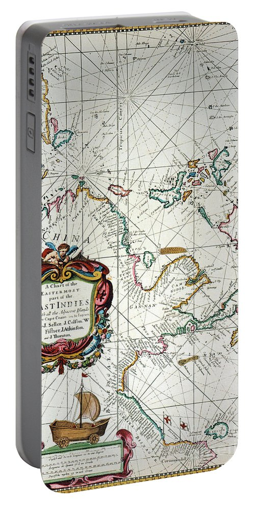 1670 Portable Battery Charger featuring the painting East Indies Map, 1670 by Granger