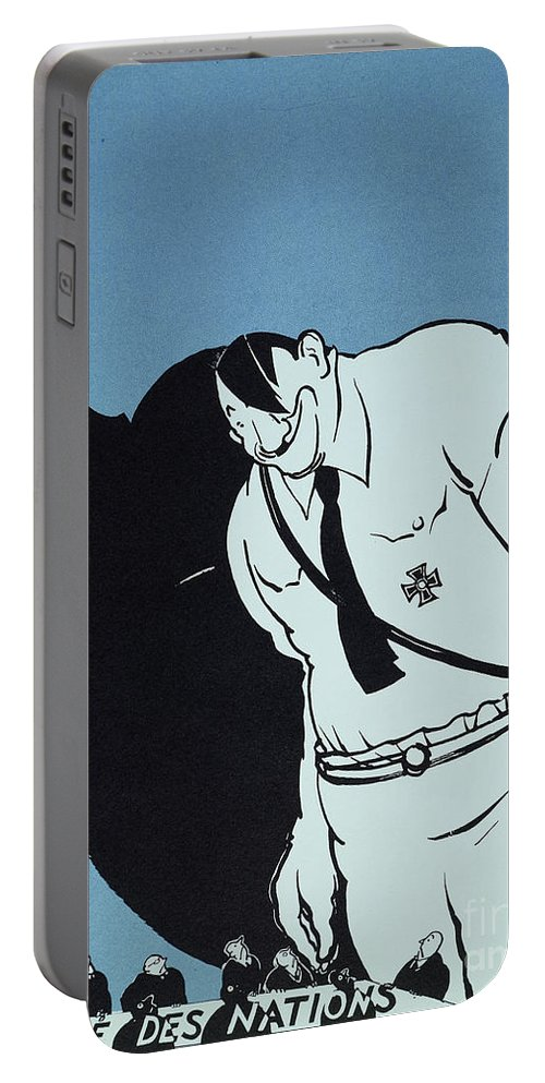 1935 Portable Battery Charger featuring the painting Adolf Hitler Cartoon, 1935 by Granger