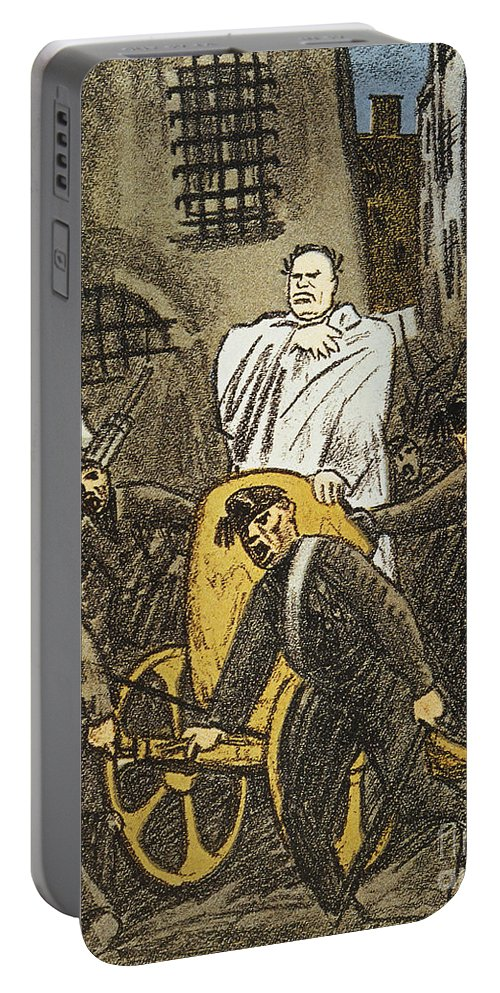 1925 Portable Battery Charger featuring the painting Benito Mussolini Cartoon by Granger