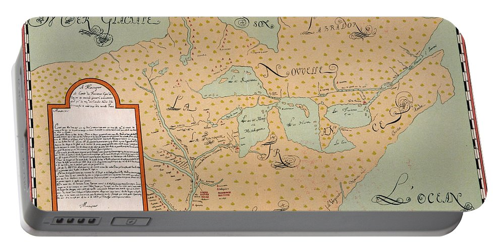 1674 Portable Battery Charger featuring the painting Jolliet: North America 1674 by Granger
