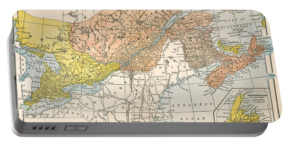 19th Century Portable Battery Charger featuring the painting Map: Eastern Canada by Granger
