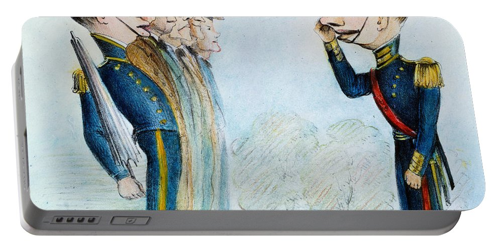 1846 Portable Battery Charger featuring the painting Cartoon: Mexican War, 1846 by Granger