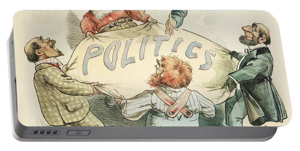 1896 Portable Battery Charger featuring the painting U.s. Cartoon: Businessman by Granger