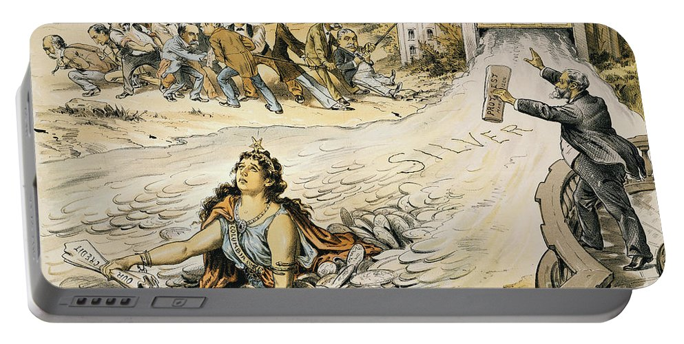1890 Portable Battery Charger featuring the painting Free Silver Cartoon, 1890 by Granger