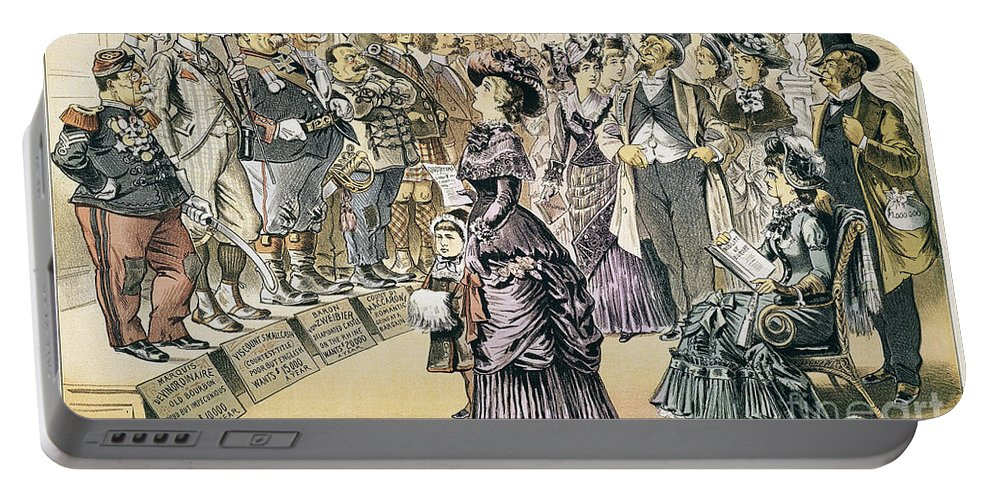 1895 Portable Battery Charger featuring the painting Marriage For Titles, 1895 by Granger