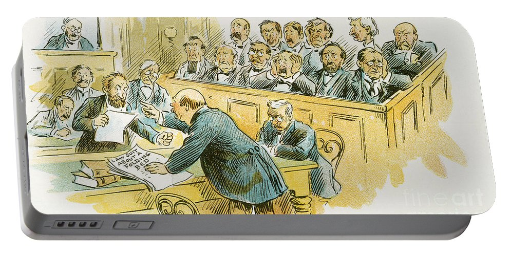 1896 Portable Battery Charger featuring the painting Litigation Cartoon by Granger