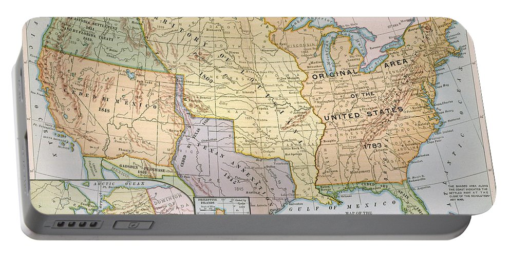 1905 Portable Battery Charger featuring the painting Map: U.s. Expansion, 1905 by Granger