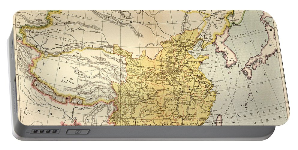 1910 Portable Battery Charger featuring the painting Map: China, 1910 by Granger