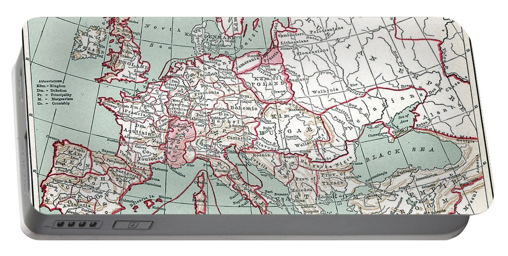12th Century Portable Battery Charger featuring the painting Map Of Europe, 12th Century by Granger