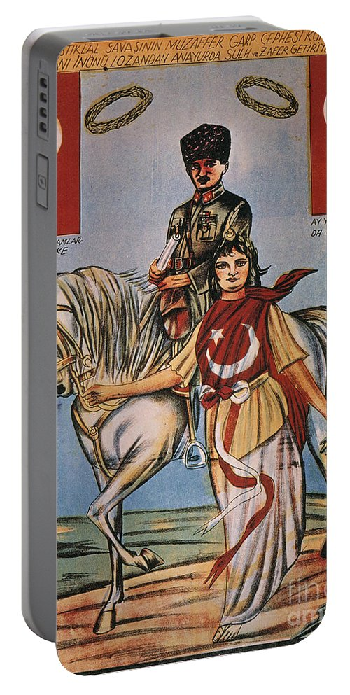 1920s Portable Battery Charger featuring the painting Republic Of Turkey: Poster by Granger