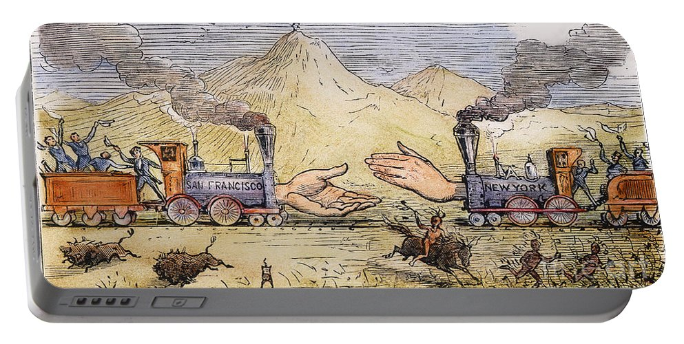 1869 Portable Battery Charger featuring the painting Promontory Point, 1869 by Granger