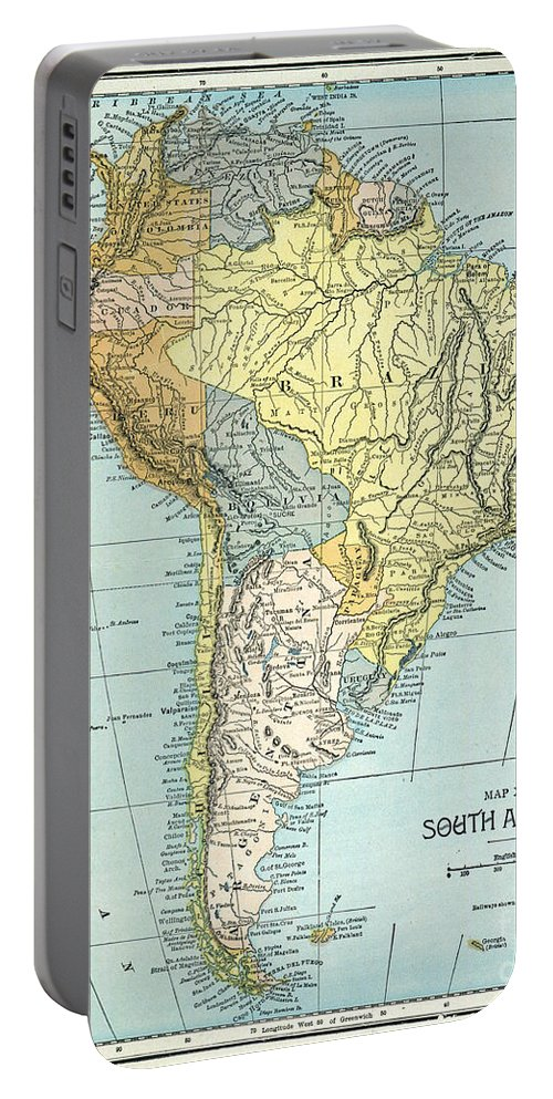 1890 Portable Battery Charger featuring the painting South America: Map, C1890 by Granger