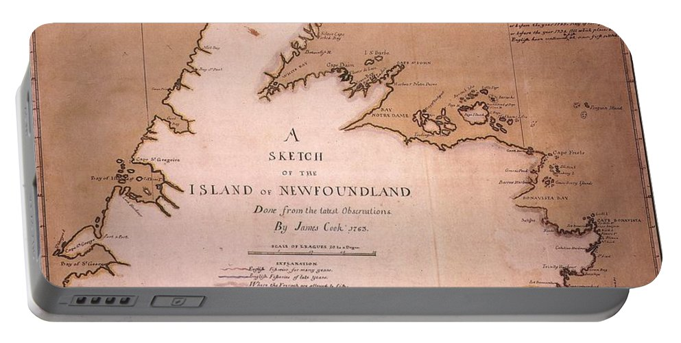 1763 Portable Battery Charger featuring the painting Cook: Newfoundland, 1763 by Granger