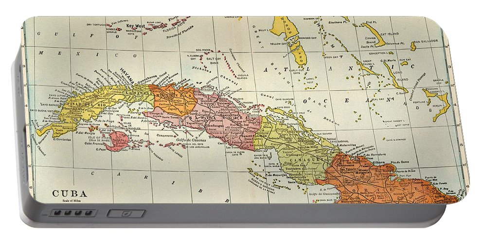1900 Portable Battery Charger featuring the painting Map: Cuba, 1900 by Granger