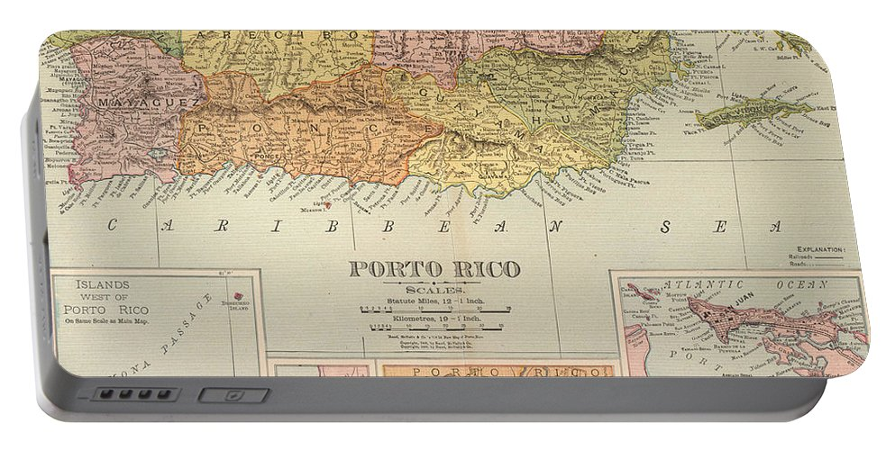 1900 Portable Battery Charger featuring the painting Map: Puerto Rico, 1900 by Granger