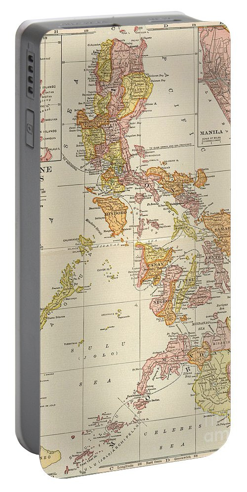 1905 Portable Battery Charger featuring the painting Map: Philippines, 1905 by Granger