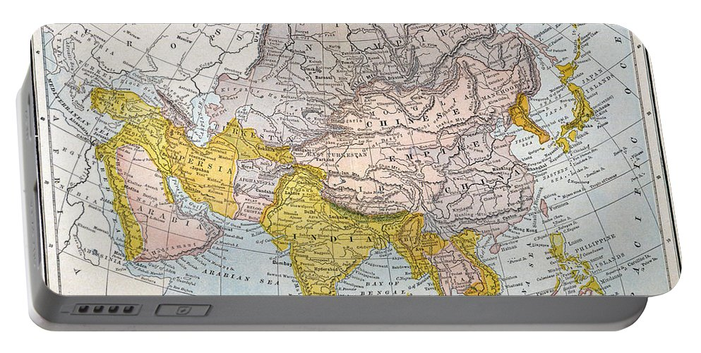 19th Century Portable Battery Charger featuring the painting Asia Map Late 19th Century by Granger