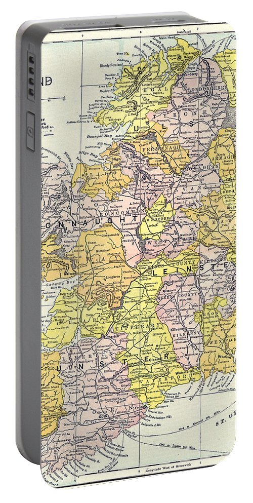 1890 Portable Battery Charger featuring the painting Map: Ireland, C1890 by Granger