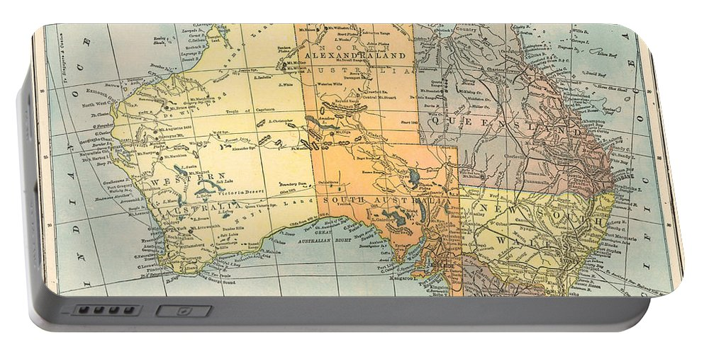 1890 Portable Battery Charger featuring the painting Map: Australia, C1890 by Granger