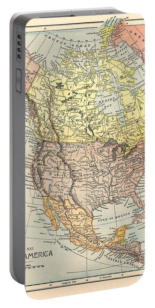 1890 Portable Battery Charger featuring the painting Map: North America, 1890 by Granger