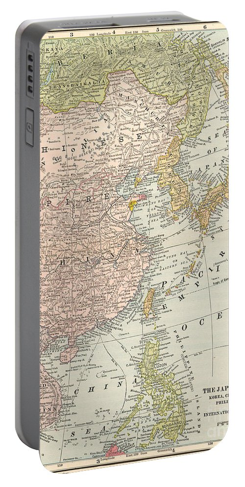 1907 Portable Battery Charger featuring the painting Map: East Asia, 1907 by Granger