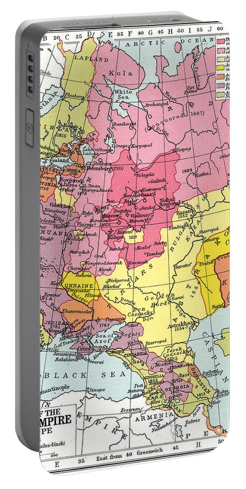1914 Portable Battery Charger featuring the painting Map: Expansion Of Russia by Granger