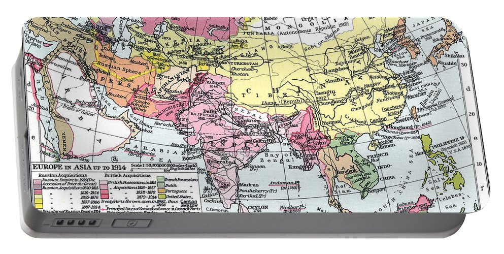 1914 Portable Battery Charger featuring the painting Map: Europe In Asia by Granger