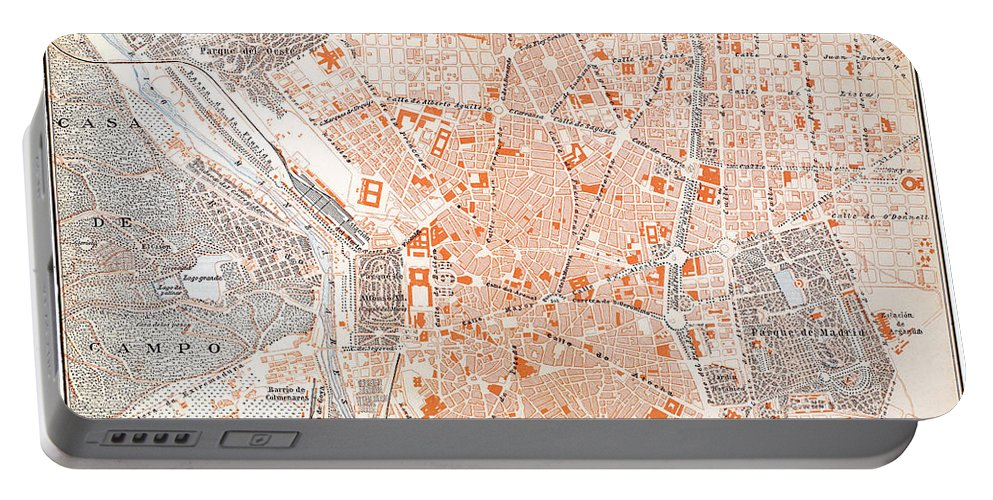 1920 Portable Battery Charger featuring the painting Spain: Madrid Map, C1920 by Granger