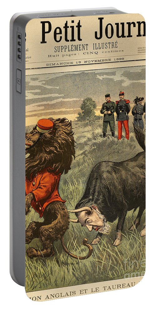 1899 Portable Battery Charger featuring the painting Boer War Cartoon, 1899 by Granger